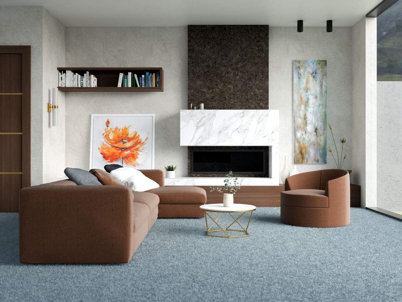 Chocolate brown and dusty blue living room ideas