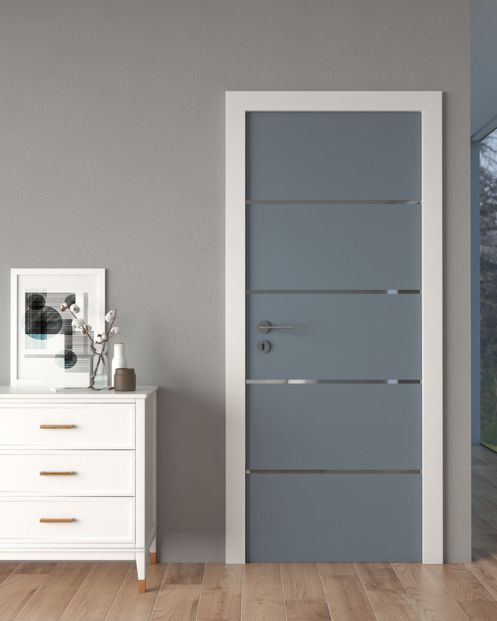 Dusty blue door with gray wall