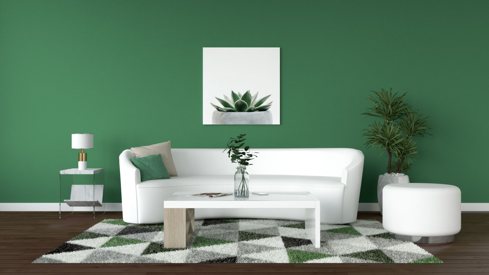 Emerald green wall with white furniture