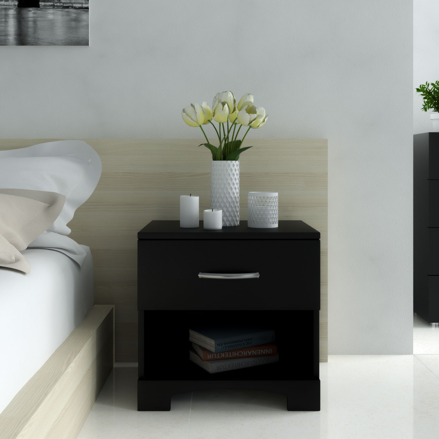 Decorate nightstand using floral