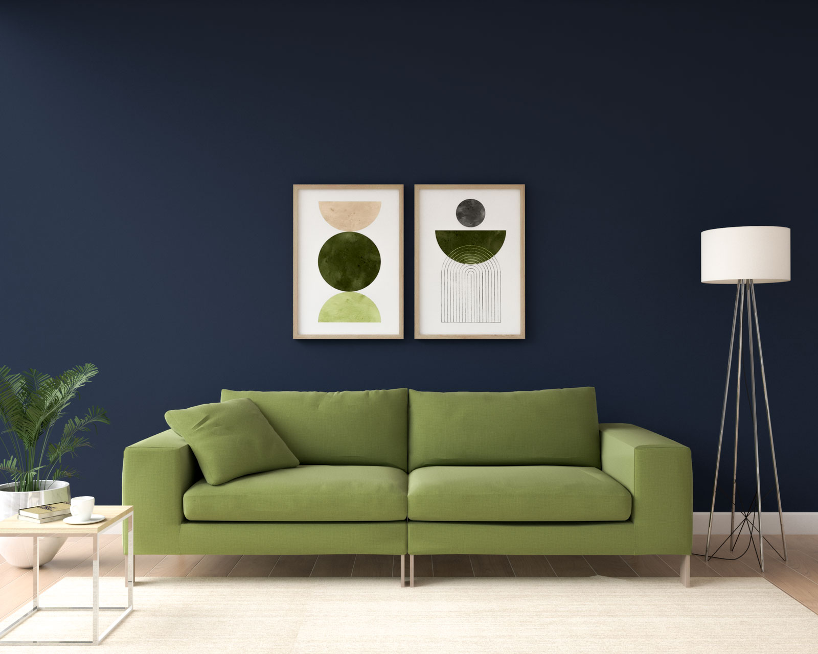 French navy and olive living room ideas