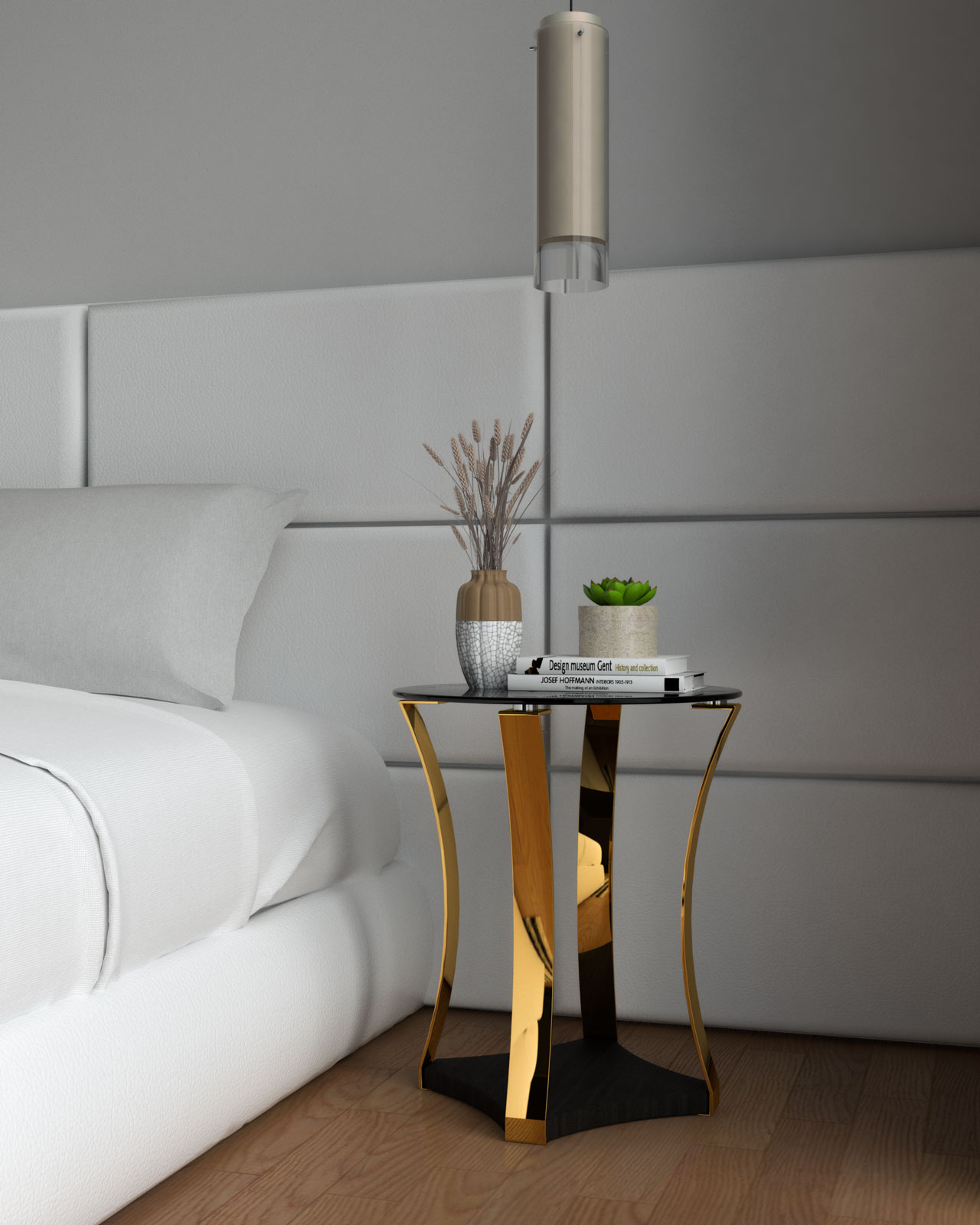 Glamourous gold nightstand inside white bedroom