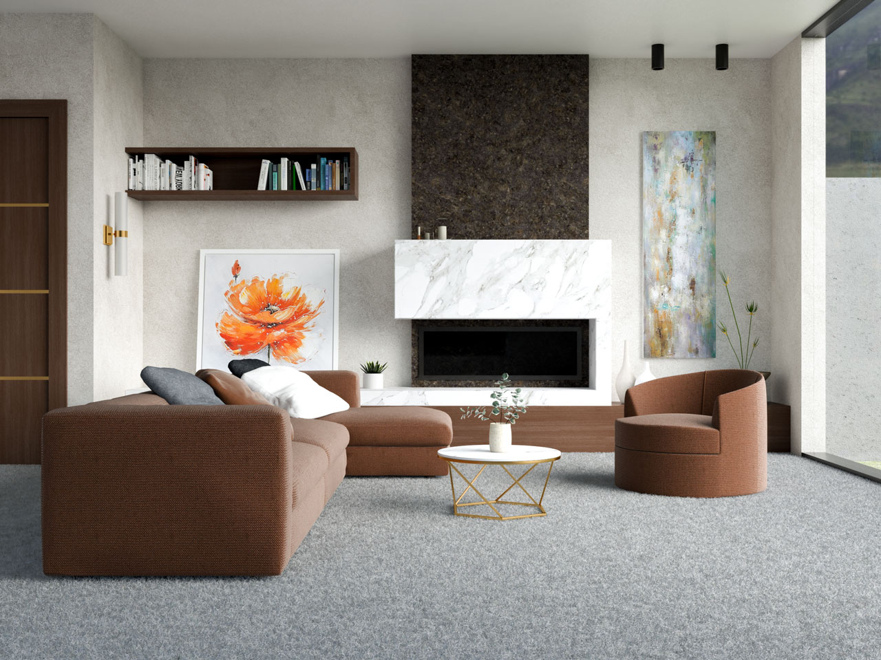 Light gray carpet with chocolate brown furniture