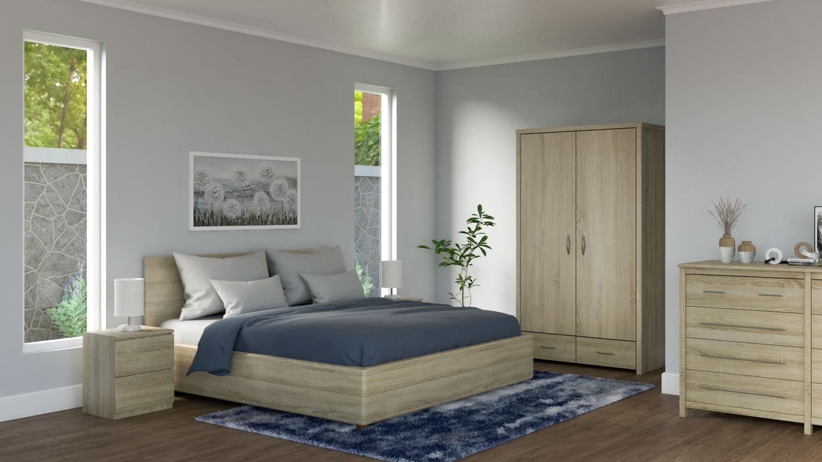 Oak bedroom with navy bedding ideas