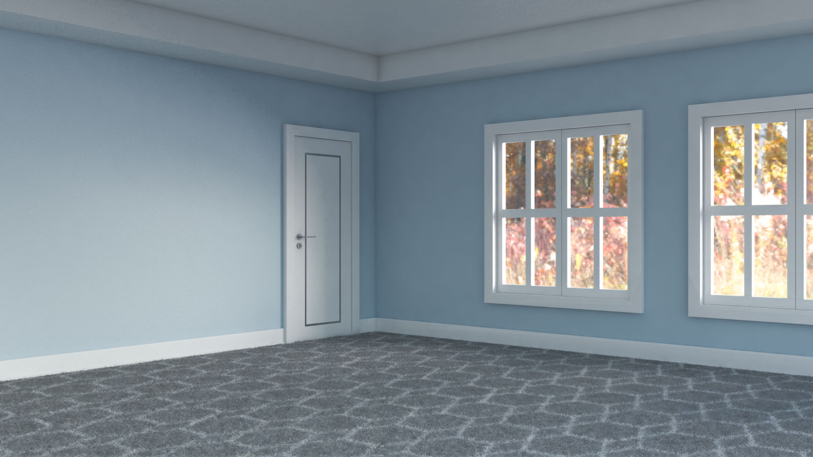 Gray and white carpet flooring with light blue walls