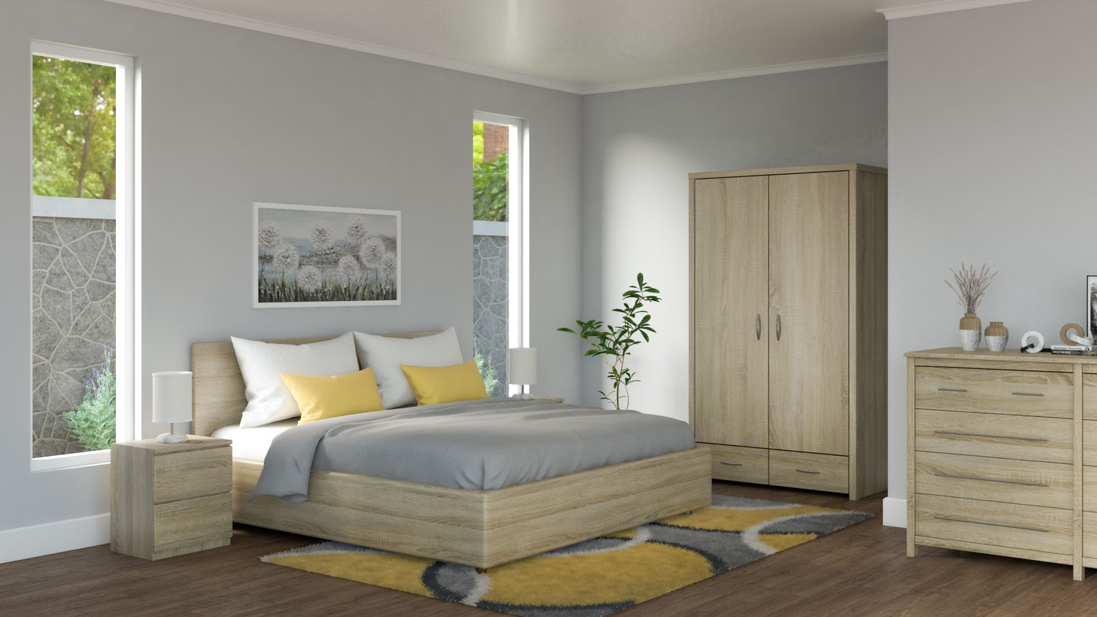 Gray bedding with yellow accents