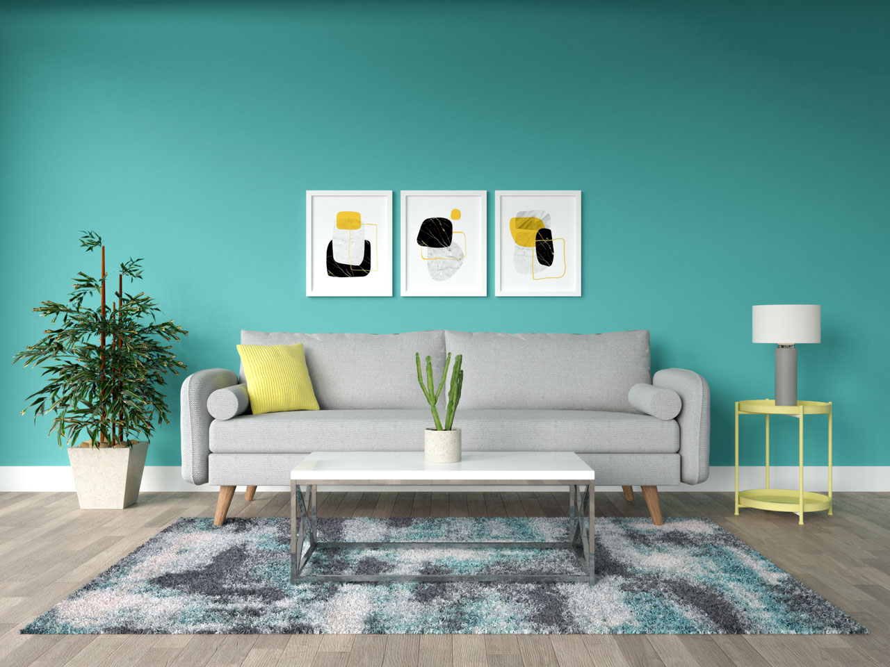 Gray and yellow furnishings inside living room with teal walls