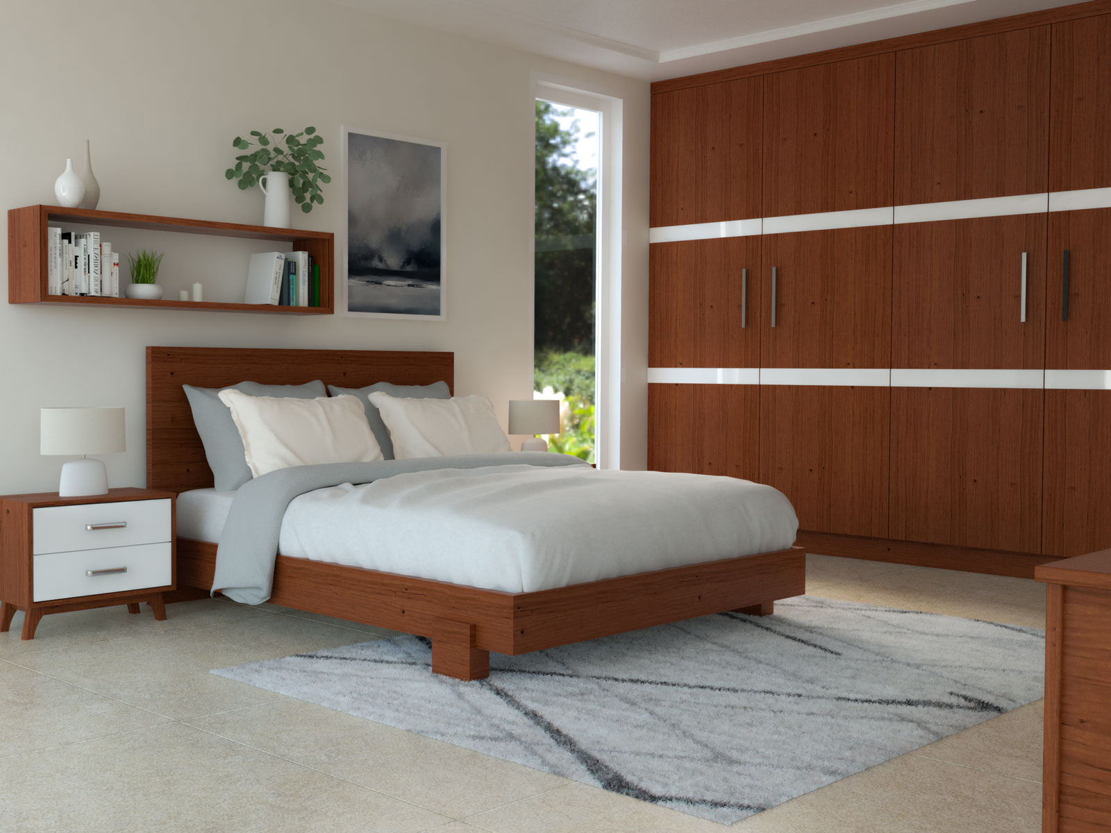 Cherry wood furniture with light gray rug