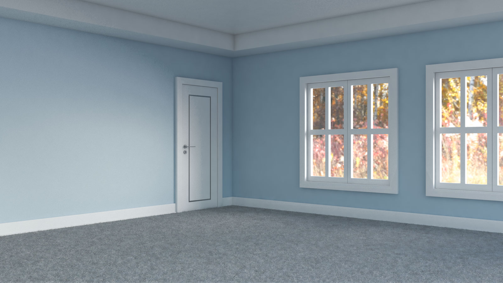 Light gray carpet with light blue walls