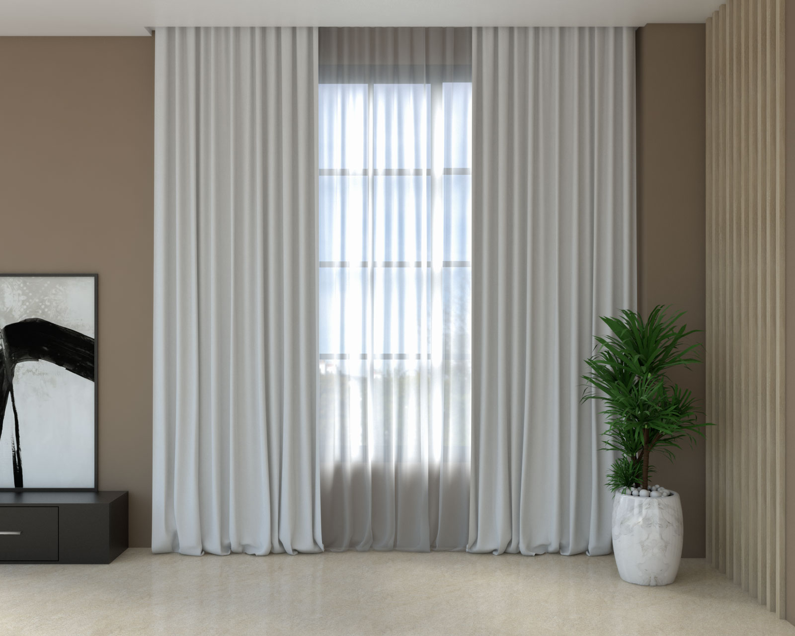 Gray curtains with brown walls