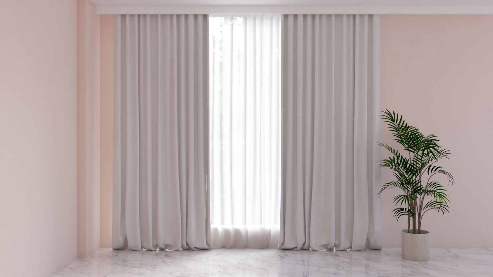 White curtains with pink walls