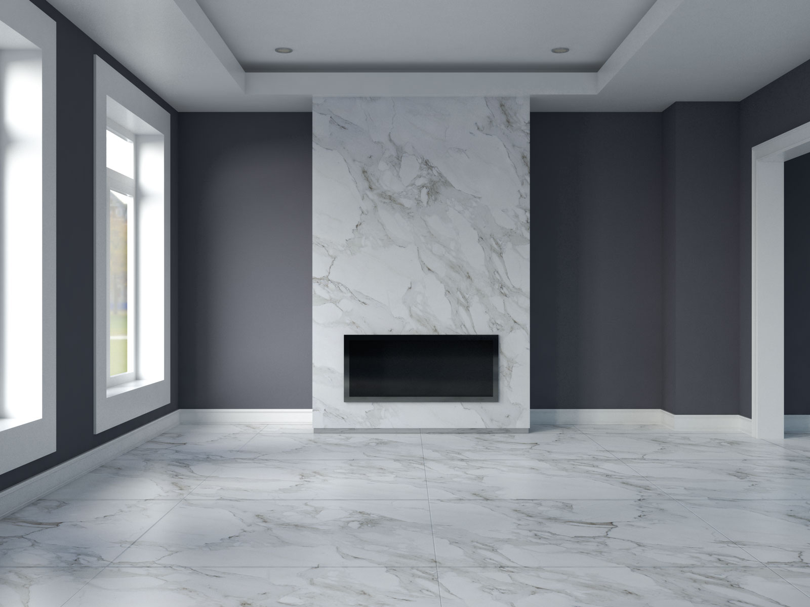 Gray harbour wall with white marble flooring