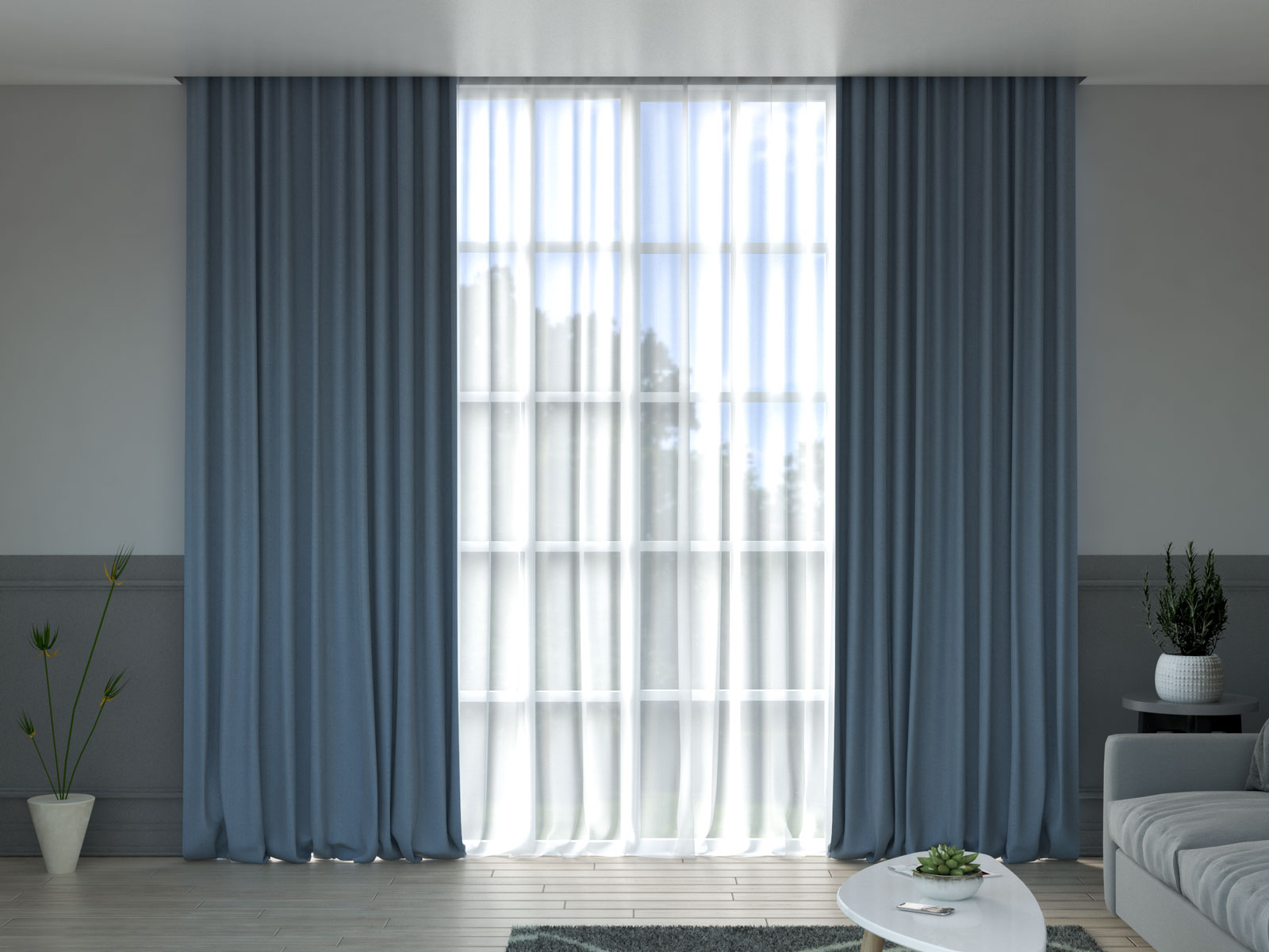 Dusty blue curtain with gray walls