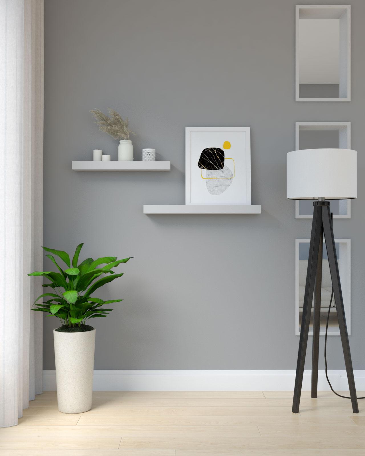 Light gray shelves on dark gray wall