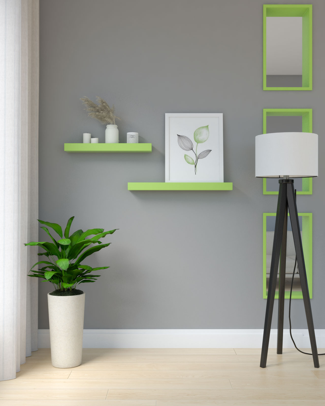 Chartreuse shelves on grey wall