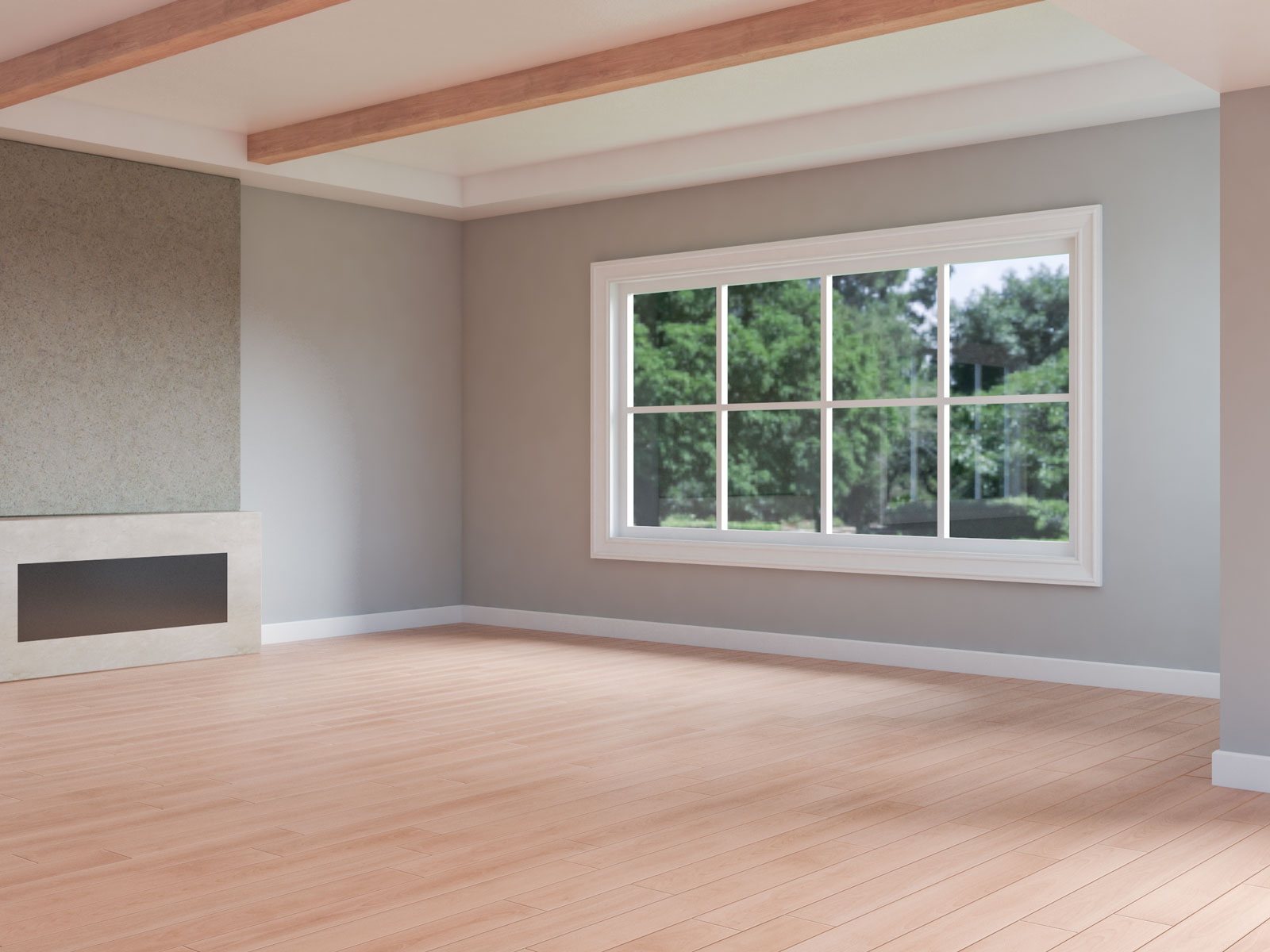 Harbour gray walls with red oak wood flooring