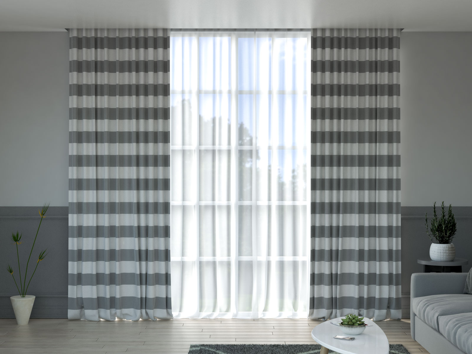 White and gray curtain ideas
