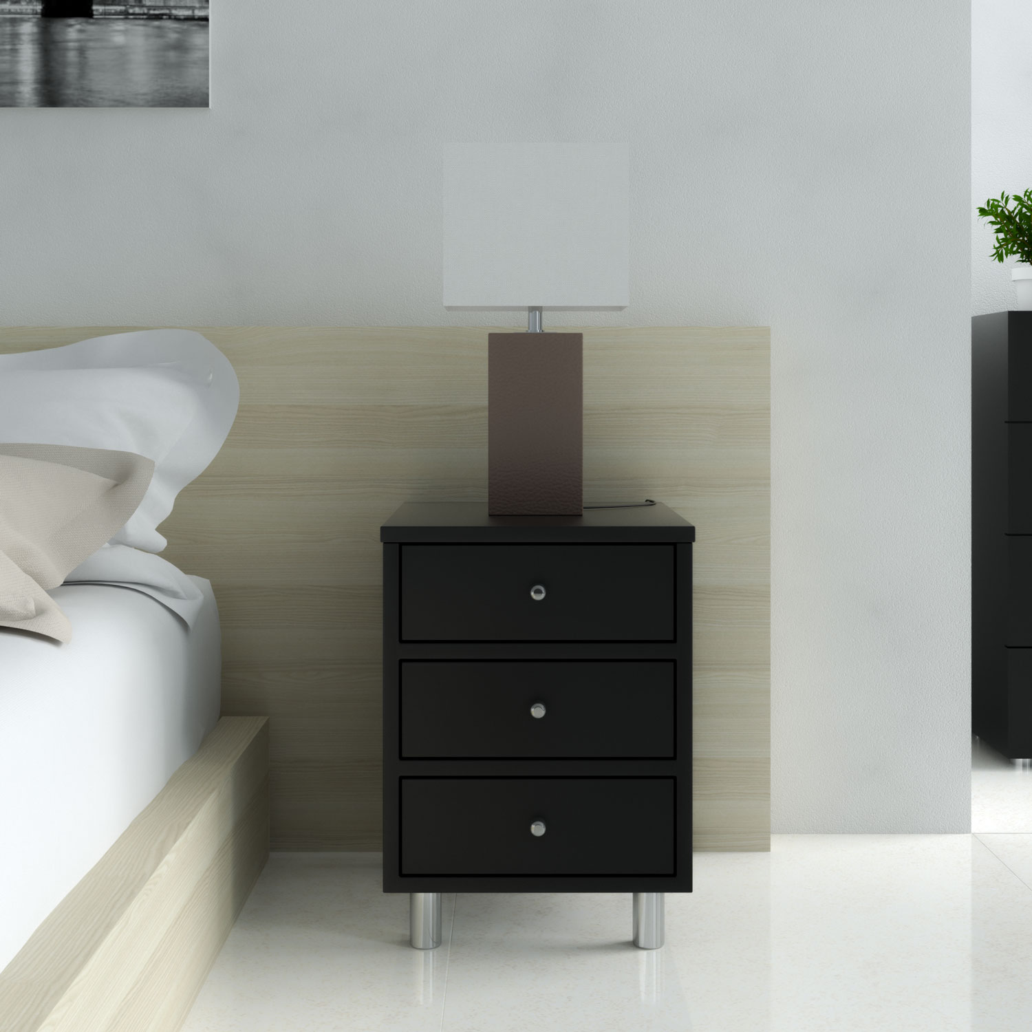 Decorate nightstand using table lamp