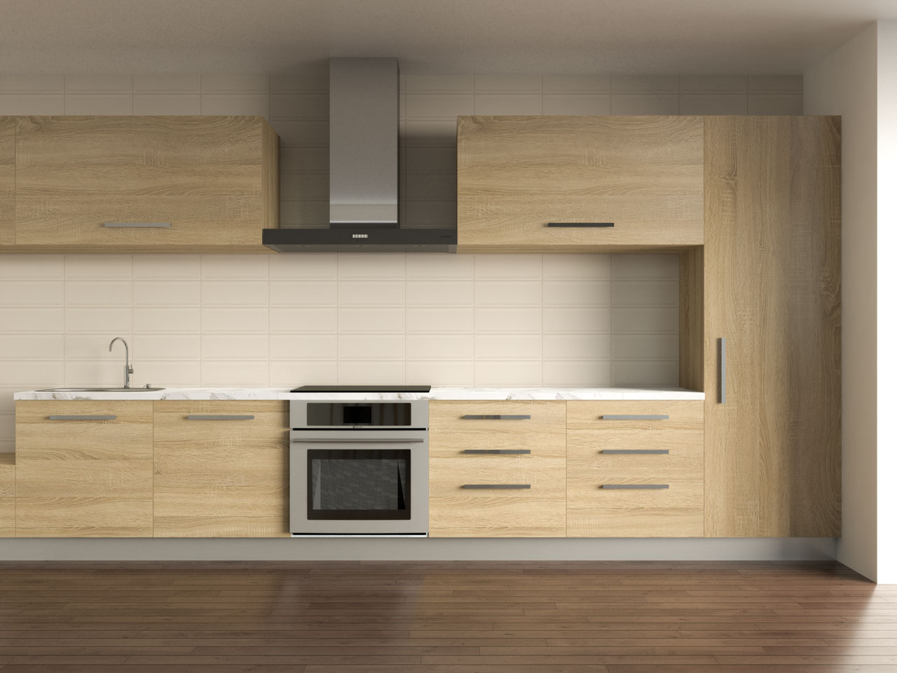 Almond backsplash with oak cabinets