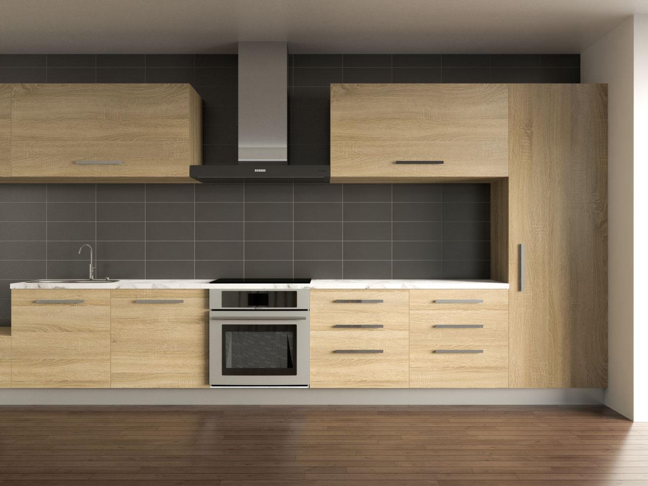 Black tile backsplash with oak cabinets
