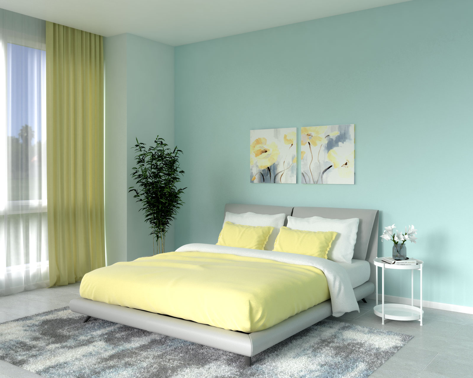 Light aqua wall with yellow accents
