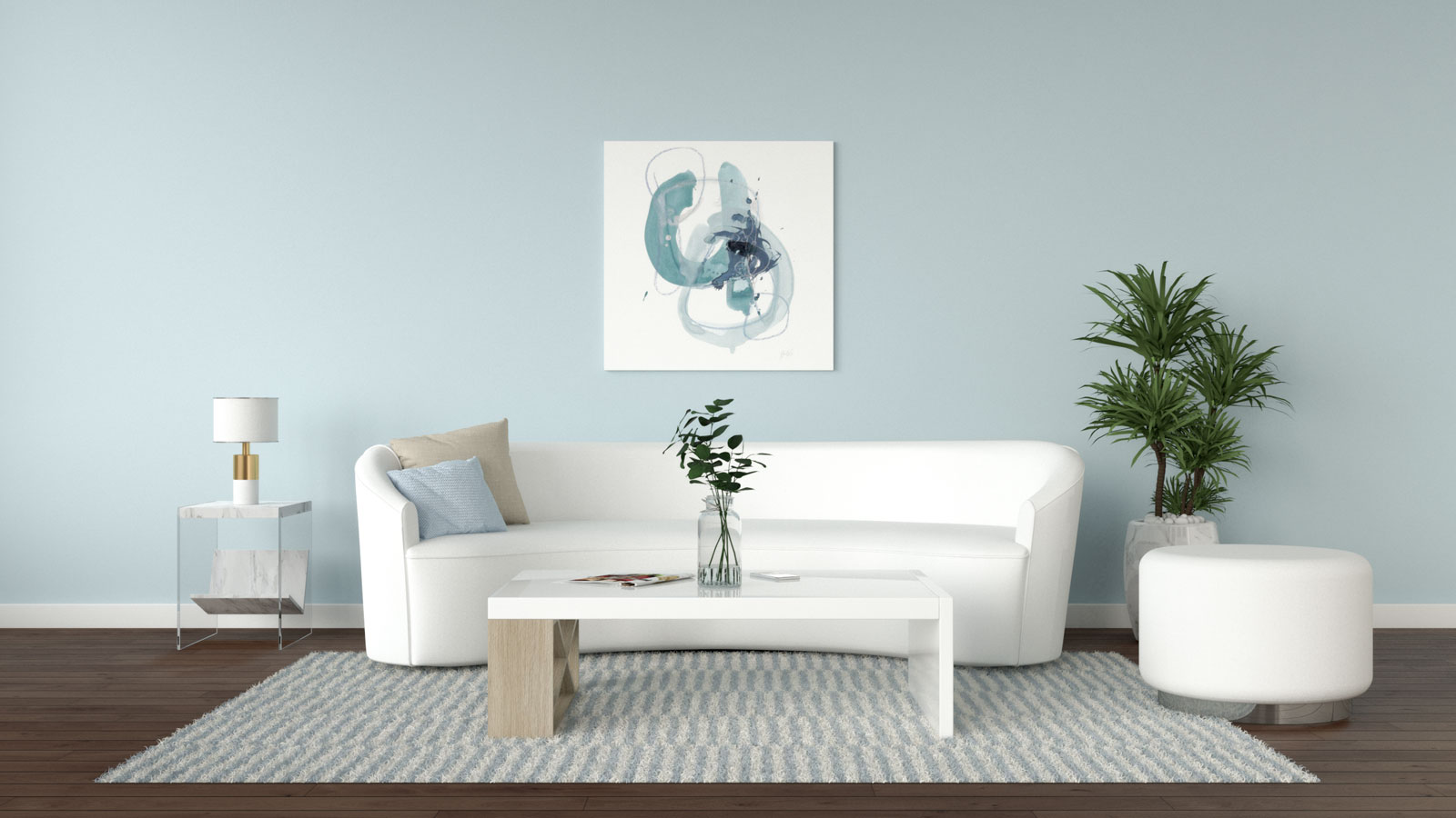 Soothing light blue and white interior ideas