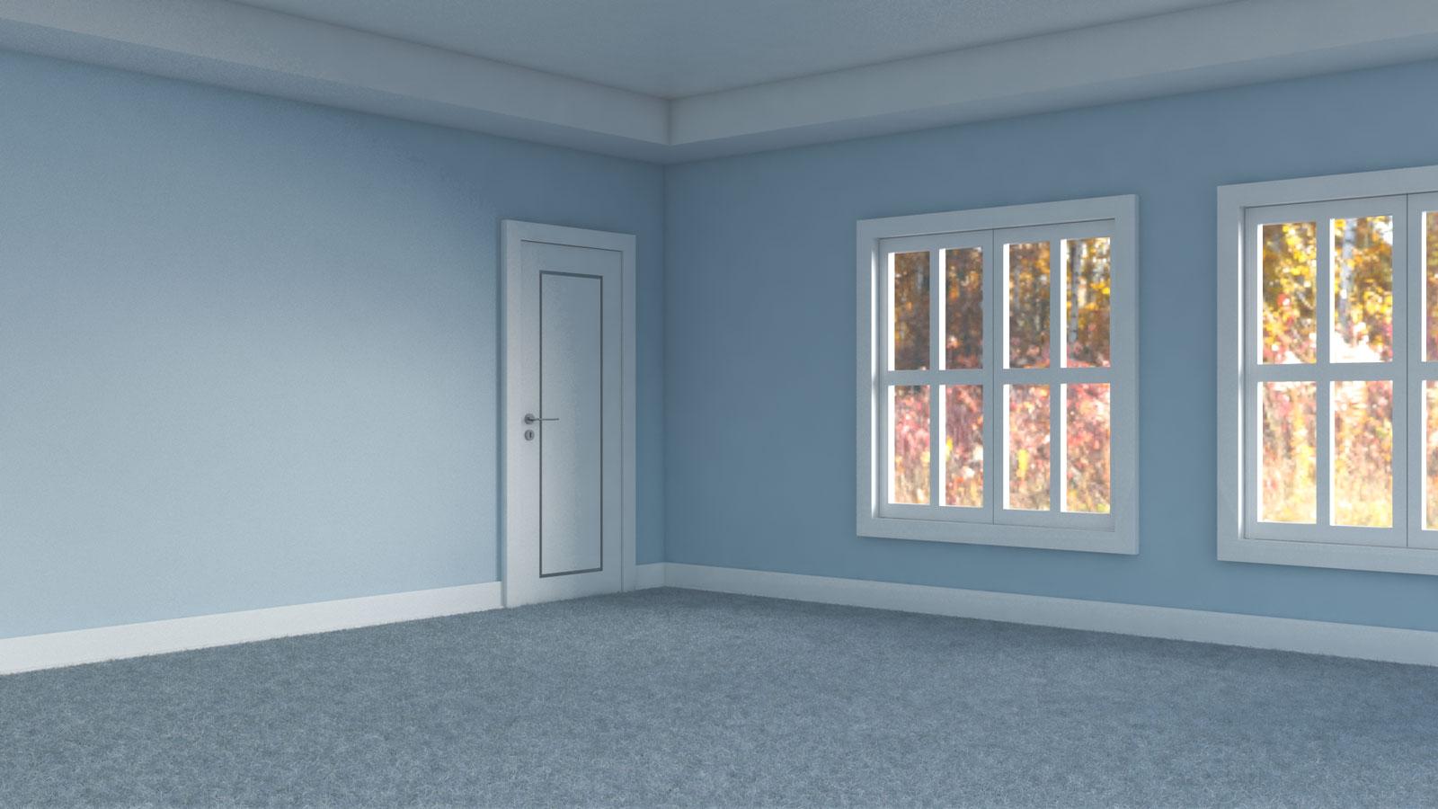 Dusty blue carpet floors with light blue walls