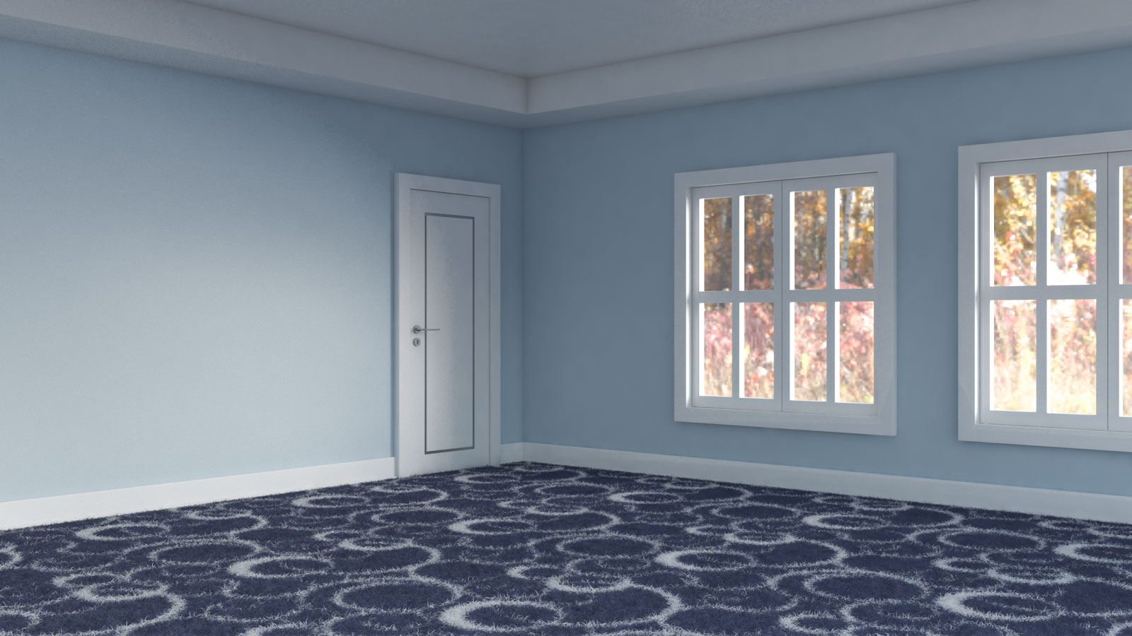 Navy and white carpet inside room with light blue walls