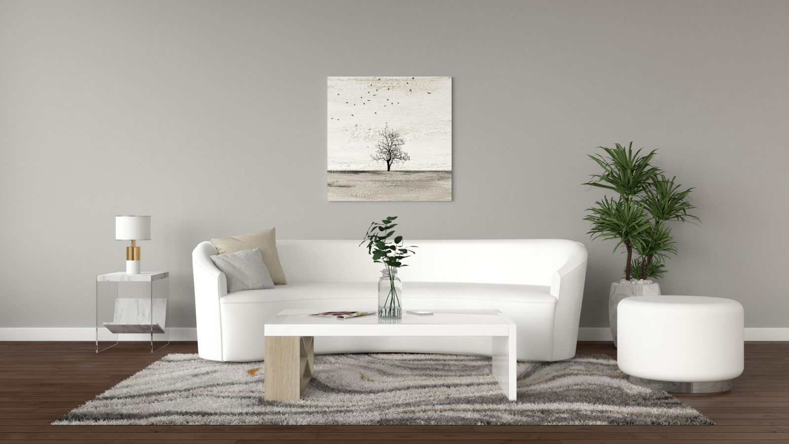 Light gray walls with white furnishings