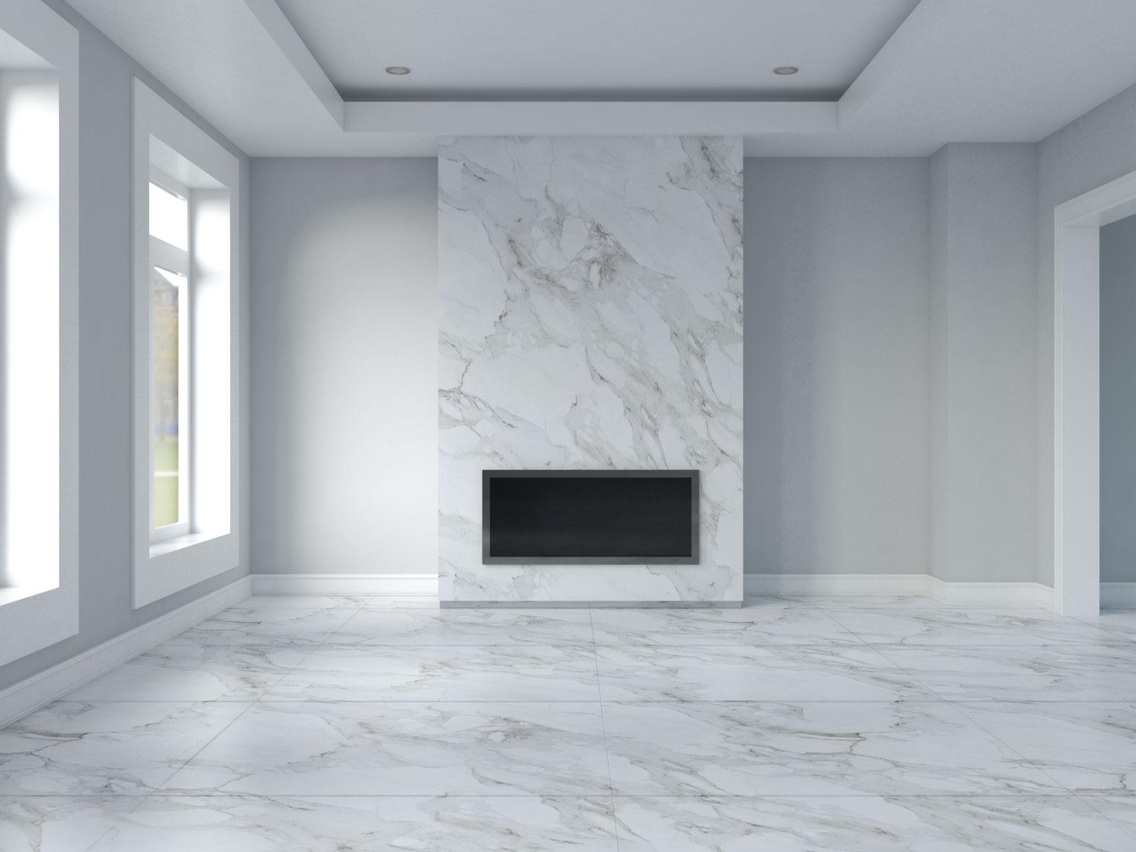 Light gray walls with carrara marble floors