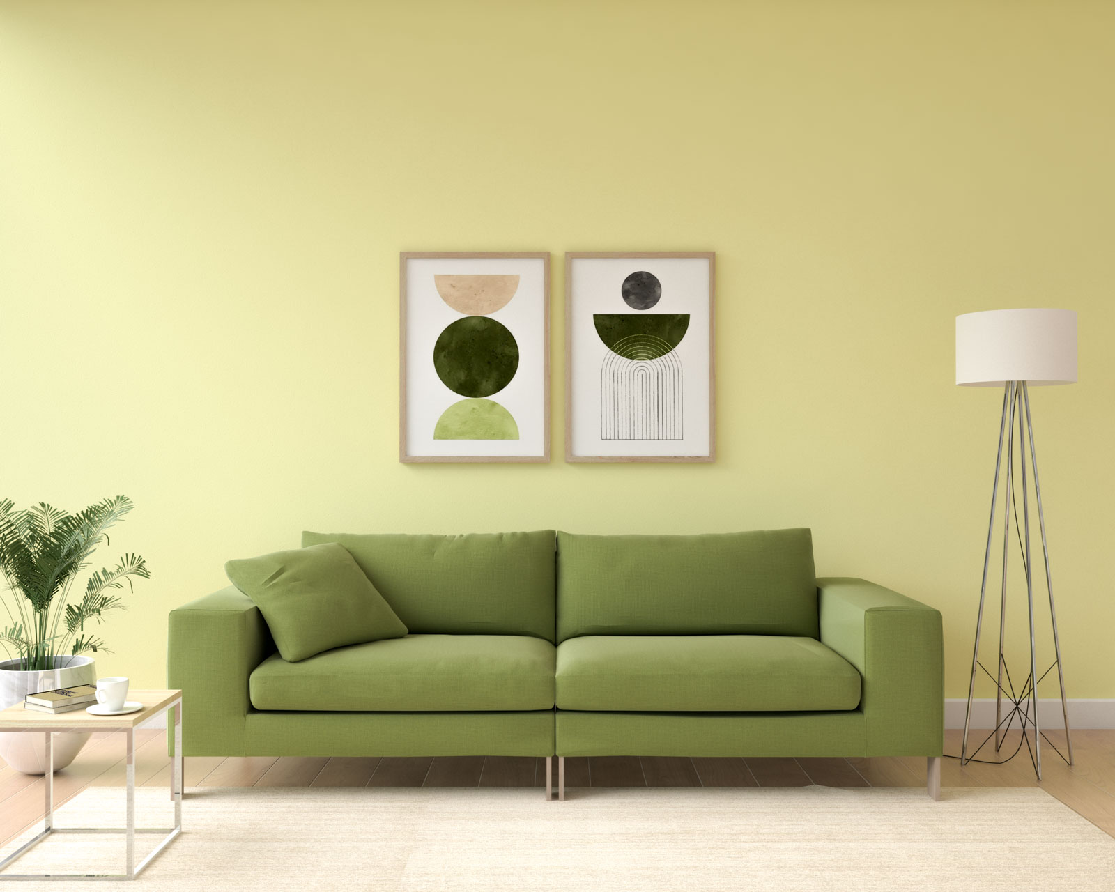 Olive couch with pale yellow walls