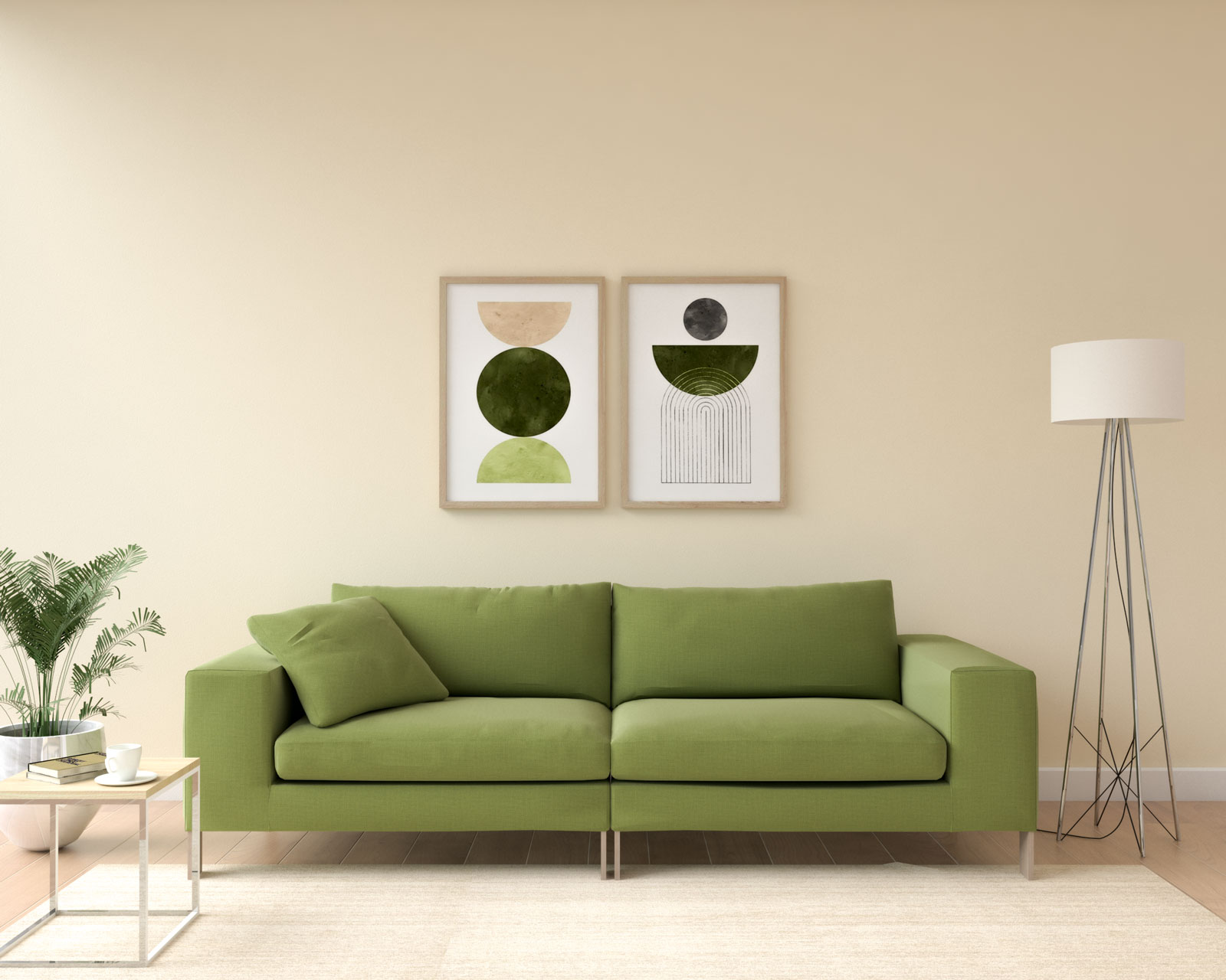 Olive couch with light peach wall