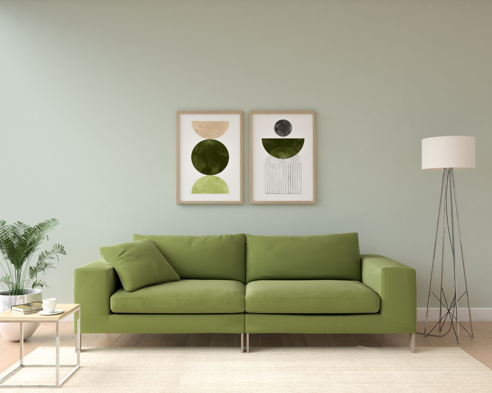 Light sage wall with olive green couch