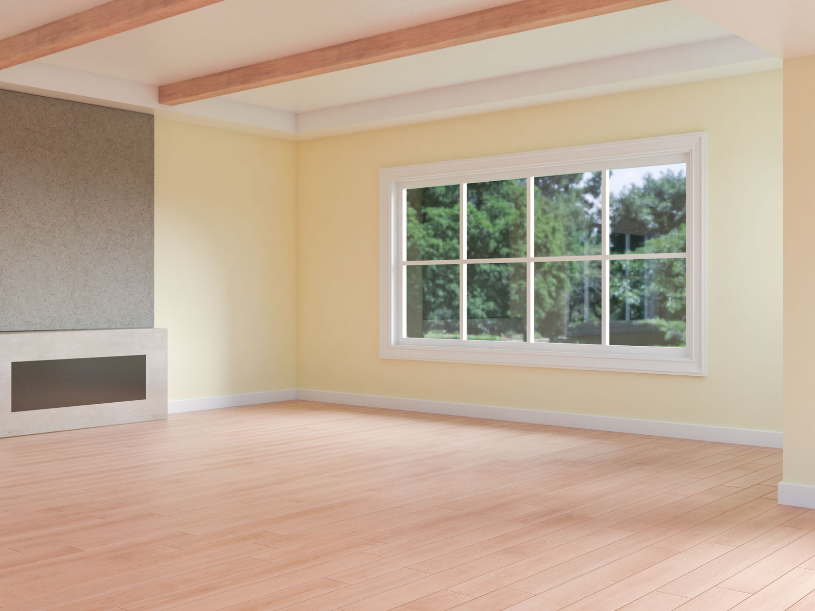 Light yellow walls with red wood flooring