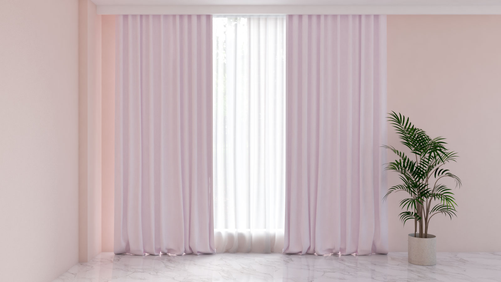 Lilac curtains with pink walls