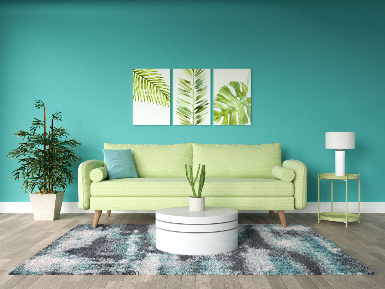 Lime and teal living room ideas