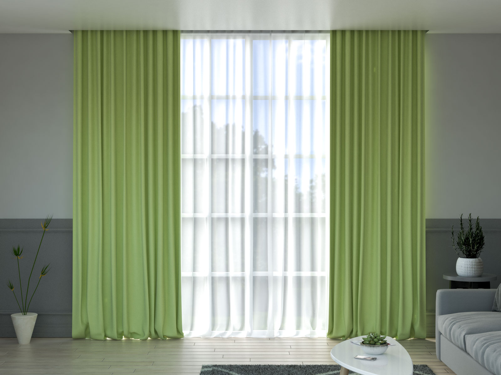 Lime curtain in gray living room