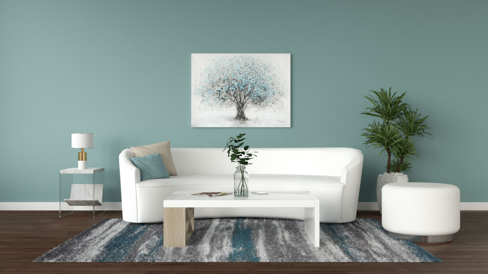 Living room with aegean teal wall and white furniture