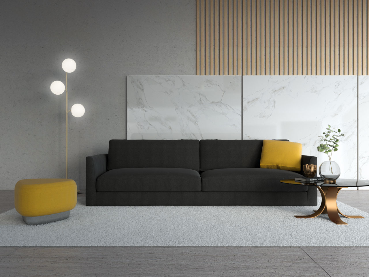 Black couch with yellow ottoman