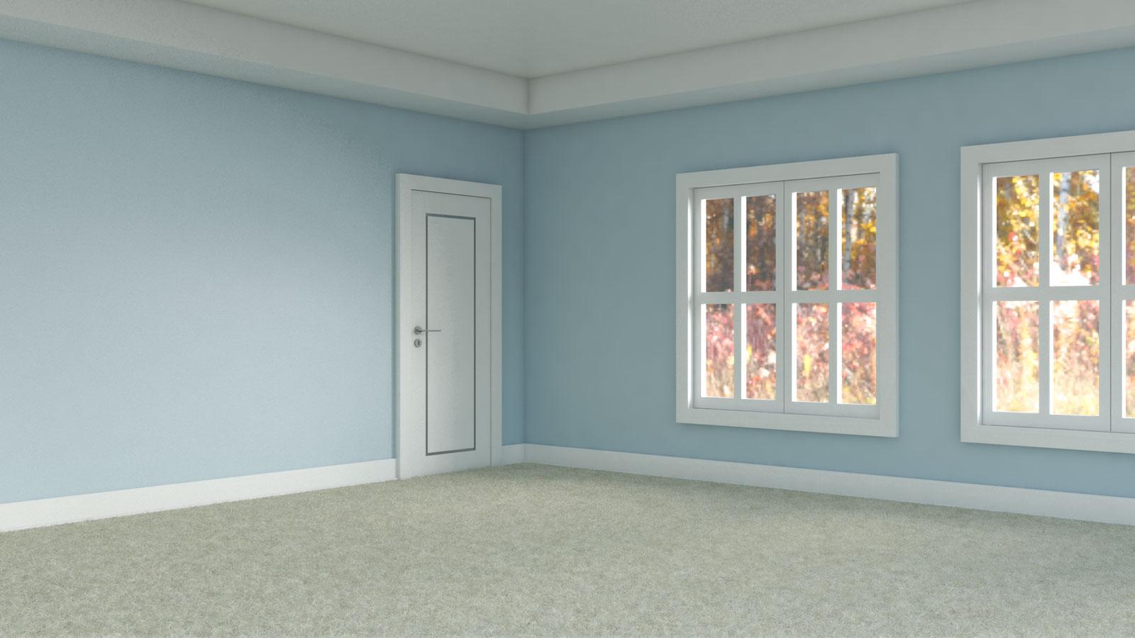 Cream flooring with sky blue walls