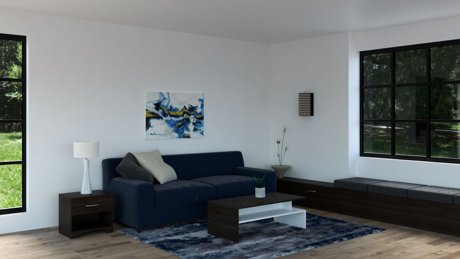 Living room with navy couch and espresso furnishings