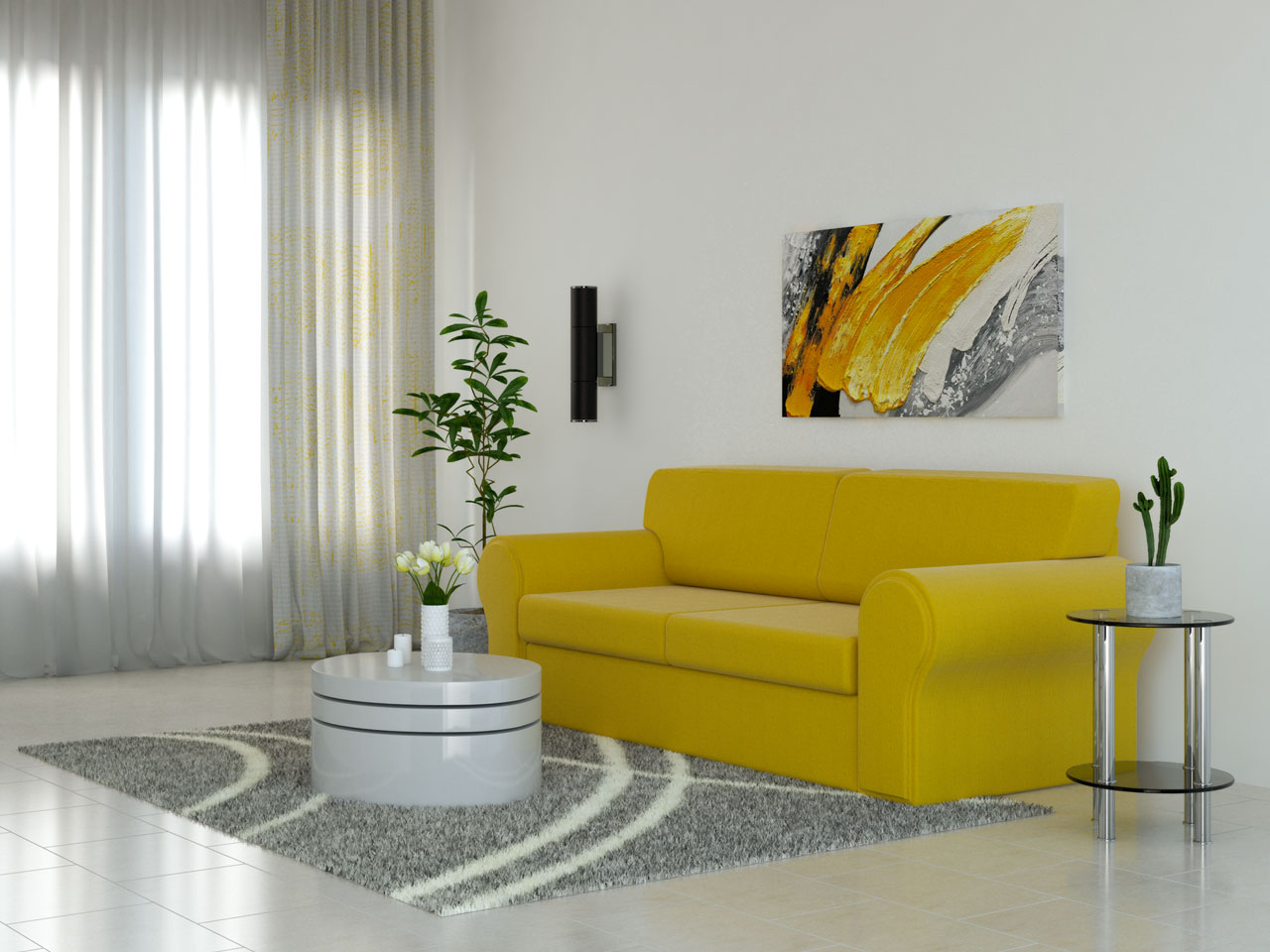 Gray rug with yellow couch