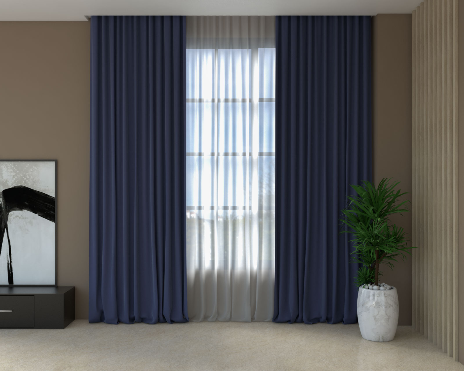 Midnight blue curtains with brown walls