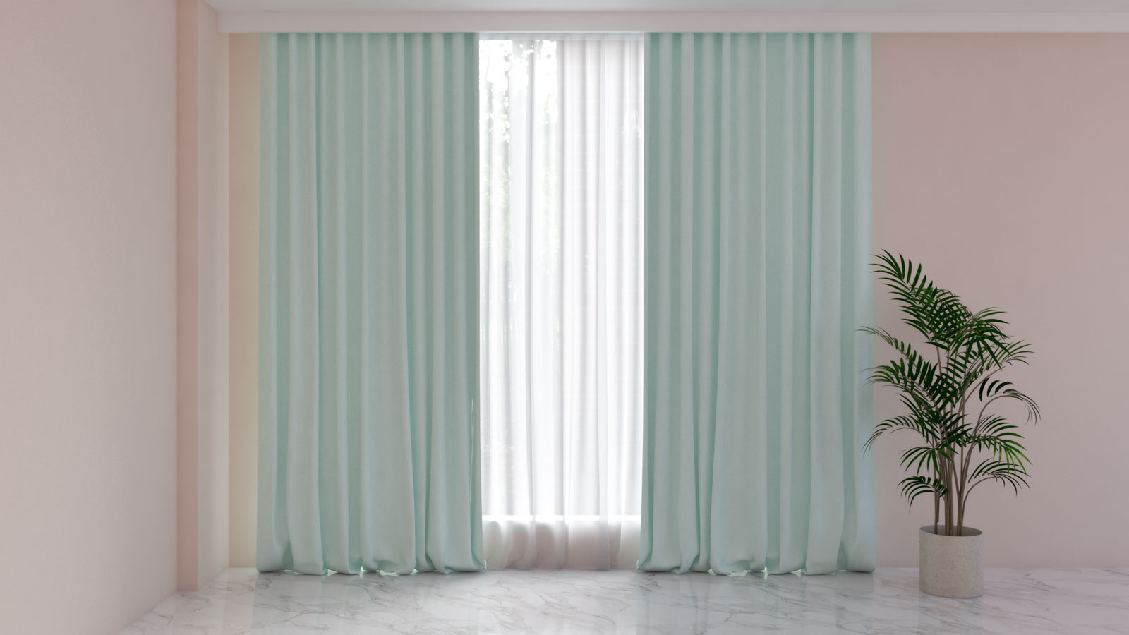 Mint green curtains with pink walls