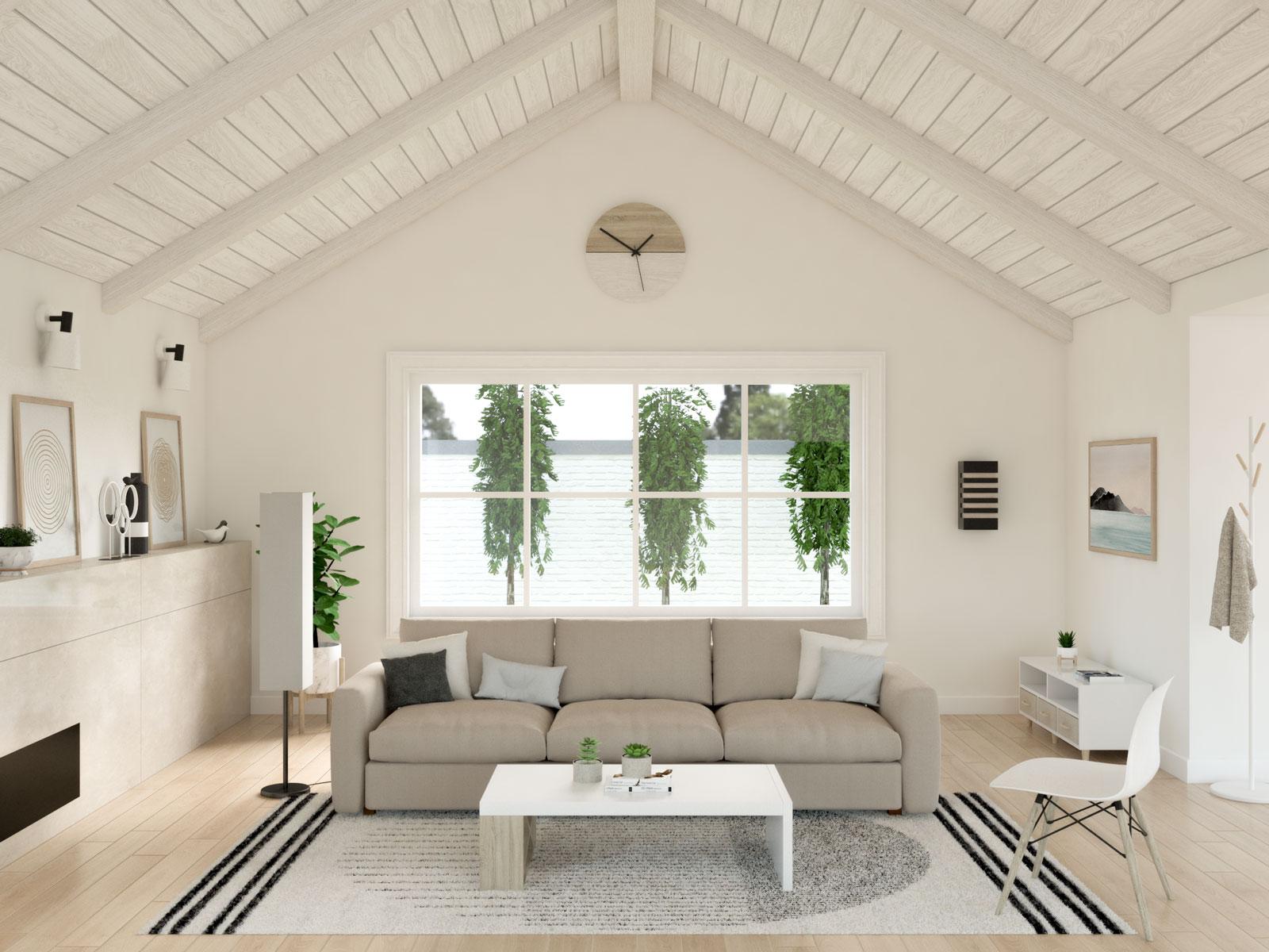 Modern floor lamp in scandinavian living room