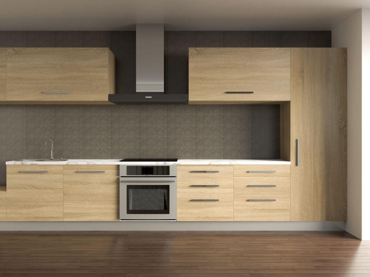 Mousy indigo tile backsplash with oak cabinets