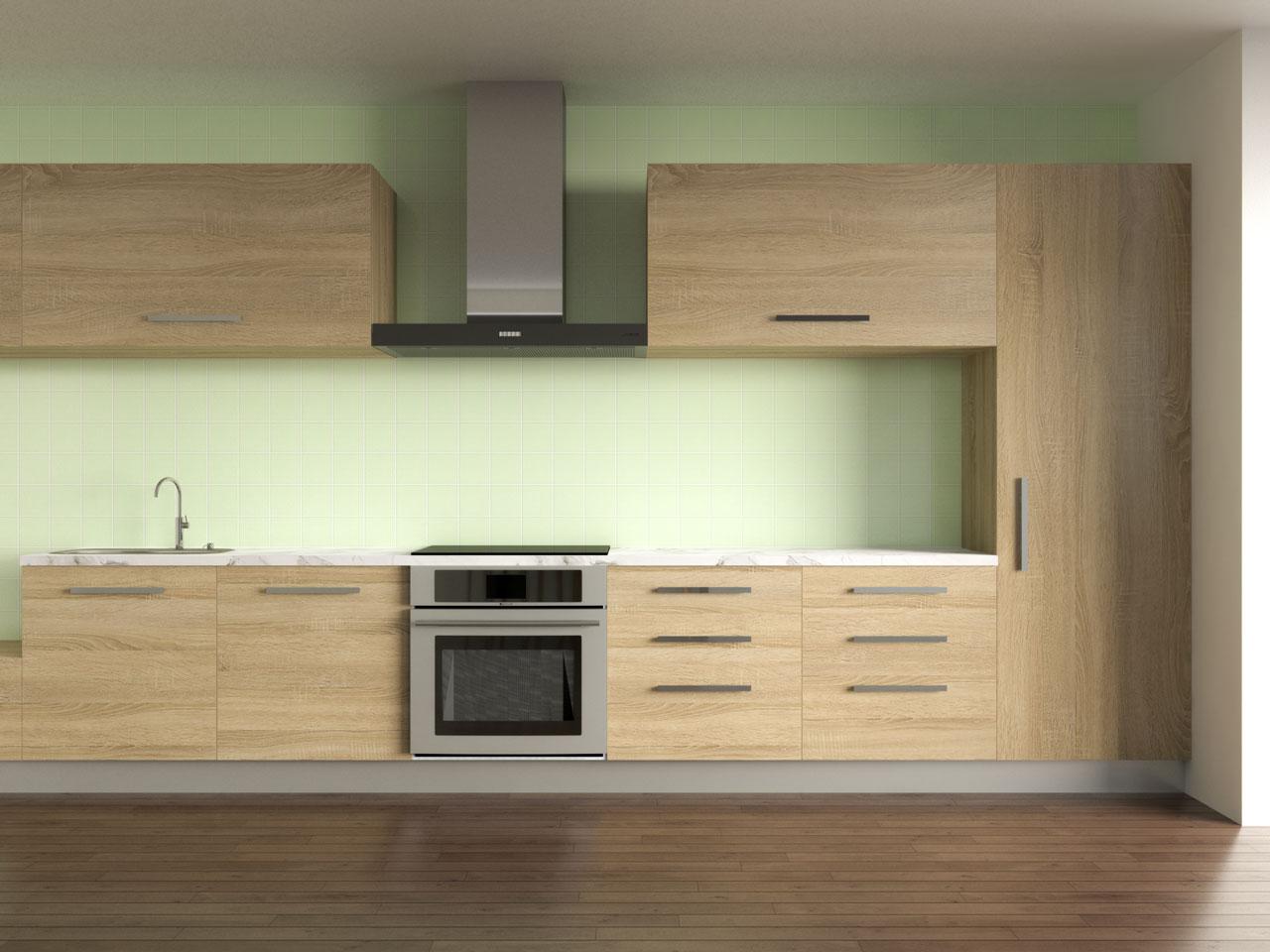 Nyanza backsplash with oak cabinets