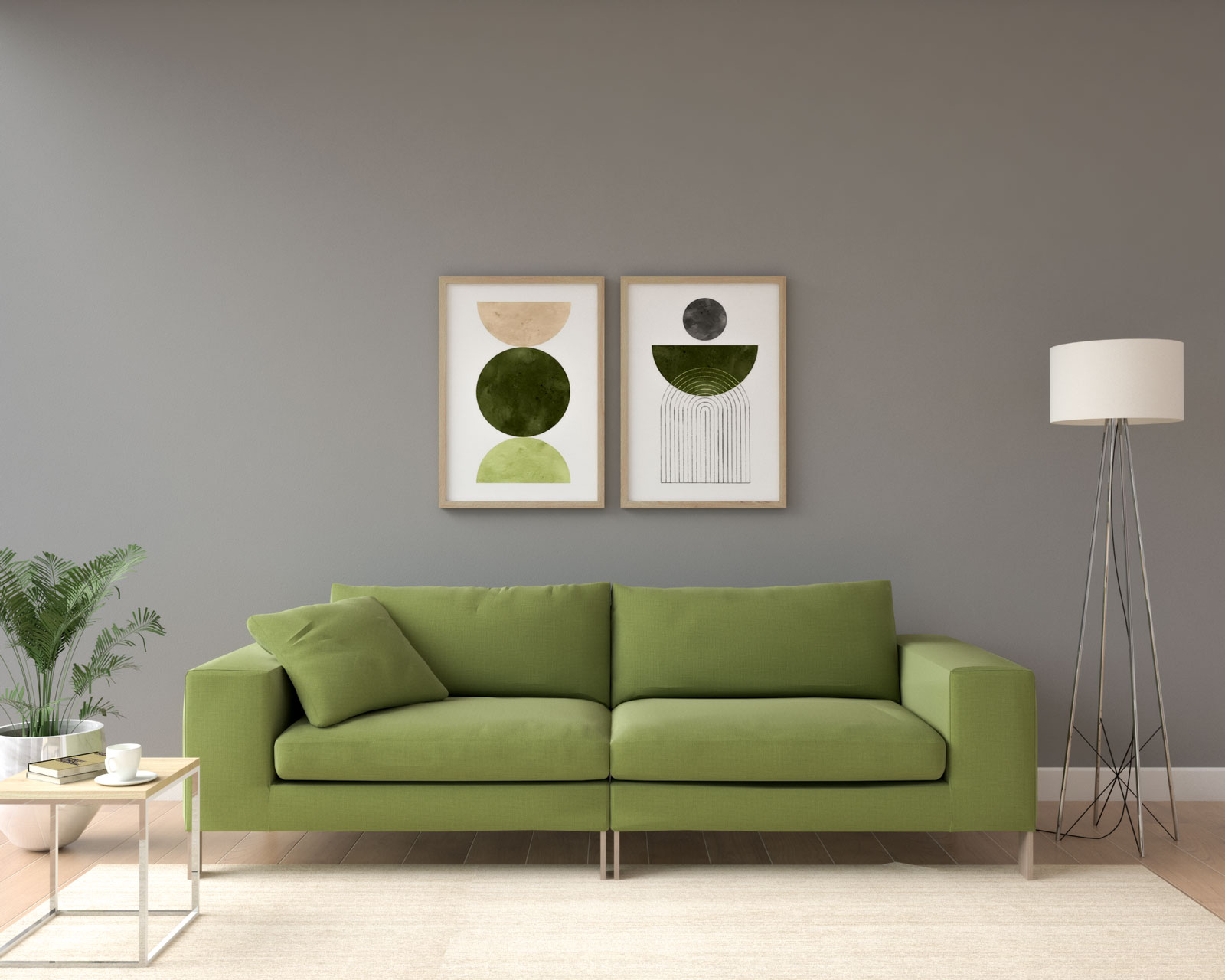 Living room with gray walls and olive green couch