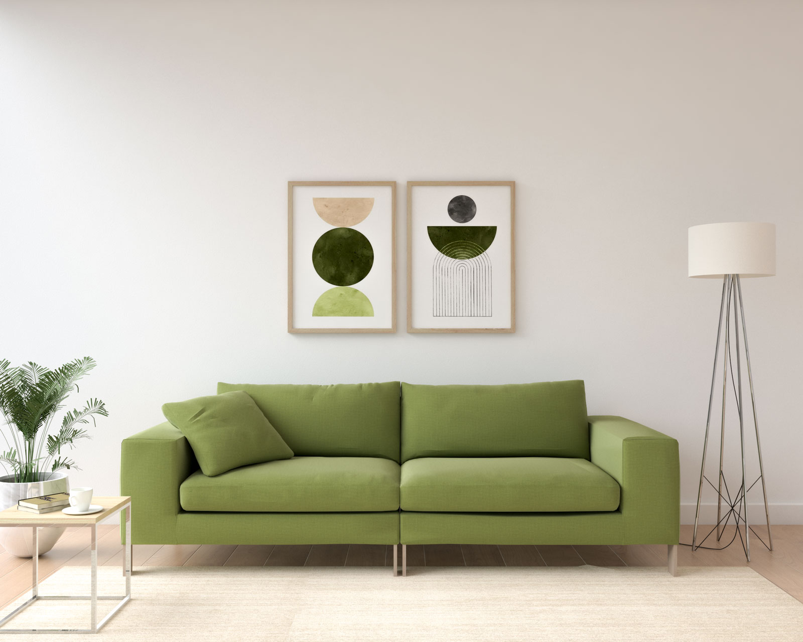 White wall with olive couch