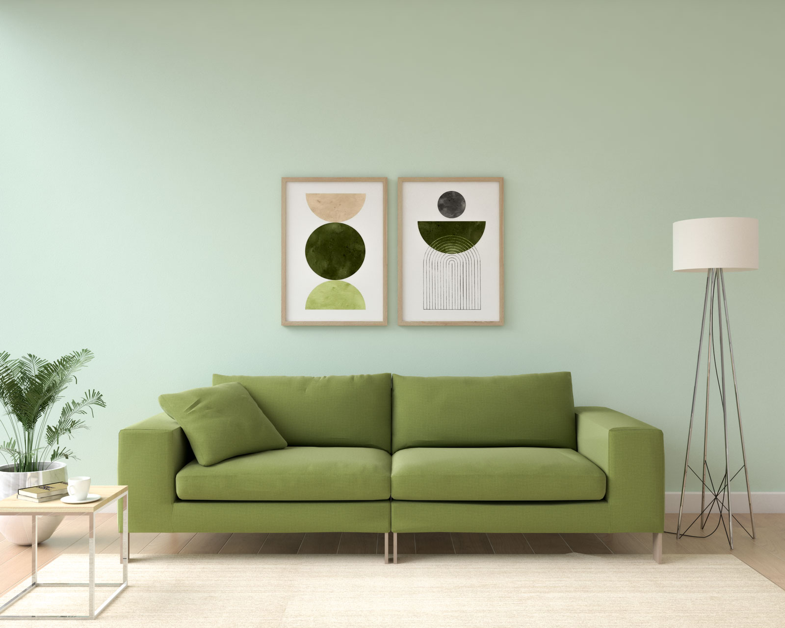 Light mint walls with olive sofa